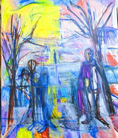 油絵 冬の風景とグラマンク